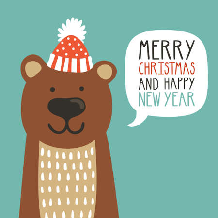 Vector holiday illustration of a cute bear in a hat saying