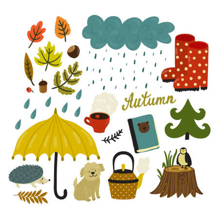 Vector autumn background. Cute set of different elements.