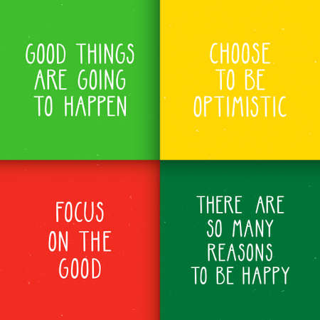 Set of four motivational posters with optimistic quotes.