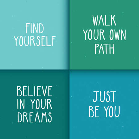 Set of four motivational posters with optimistic quotes. Stylish backgrounds with trendy typography design.