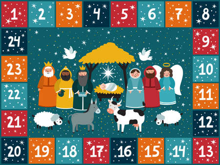 Christmas advent calendar with traditional nativity scene. Bright holiday background in cartoon style. Illustration