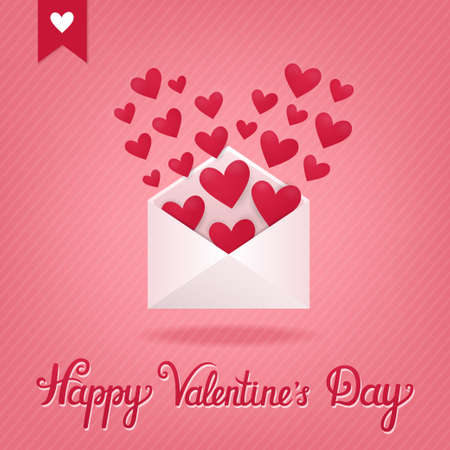 Vector concept card with open envelope and hearts in it. Holiday striped background with romantic letter and beautiful hand written text