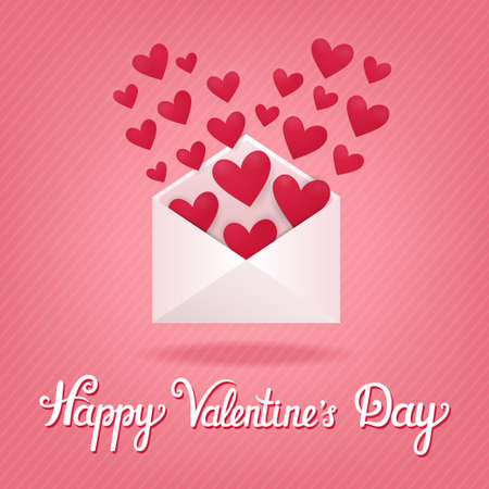 Vector concept card with open envelope and hearts in it. Holiday striped background with romantic letter and beautiful hand written text Happy Valentines Day.