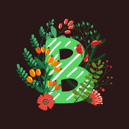 Vector floral letter made from leaves, branches, berries and flowers. Bright botanical alphabet. Vintage hand drawing character. Letter B.