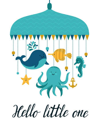 Vector illustration with cute cartoon characters. Different sea animal: whale, octopus, sea horse, fish, sea star and hand written text