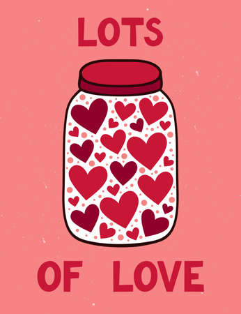 Vector illustration of jar with heart. Cute romantic background with text