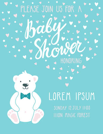 Baby shower invitation card vector illustration with cute polar bear