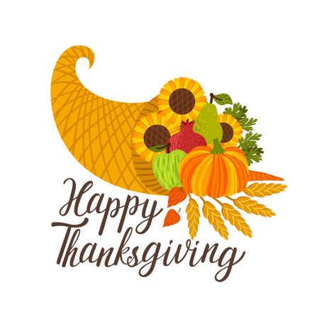 Vector Thanksgiving background with cornucopia and  text