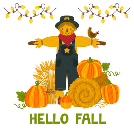 Vector autumn background with pumpkins, hay bale, wheat sheaf, scarecrow and text Hello fall. Bright autumn invitation template. Harvest festival card.