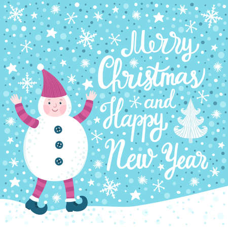 Merry Christmas and Happy New Year greeting card with a cute little baby in snowman costume on blue background.