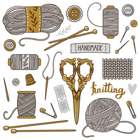 Vector set of knitting and sewing tools. Stylish collection of vintage scrapbook elements accessories.