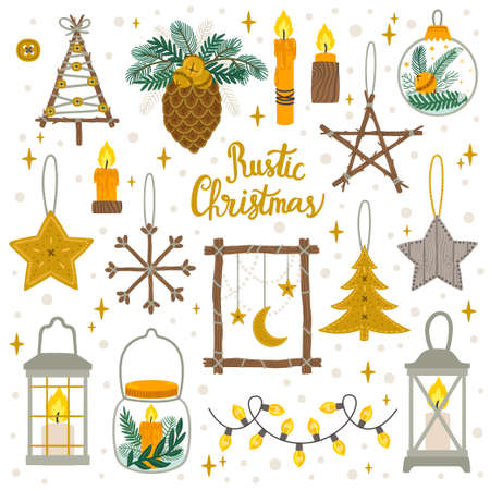 Vector set of vintage Christmas and New Year decoration with floral composition. Holiday set. Illustration