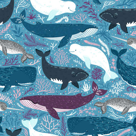 Vector seamless pattern with whales. Repeated texture with marine mammals: narwhal, blue whale, beluga whale, white whale and sperm whale. Blue sea background with animals.