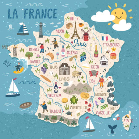 Vector stylized map of France. Travel illustration with french landmarks, people, food and animals. Illustration