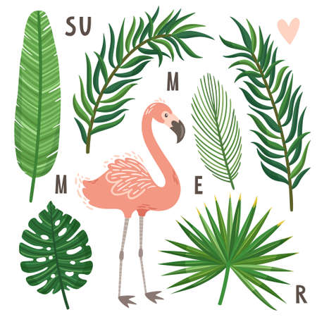 Vector set of palm leaves and flamingo. Bright exotic background with bird. Collection of tropical scrapbook elements.