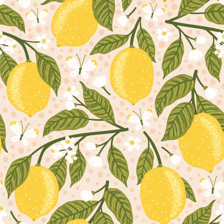 Vector seamless pattern with lemons, flowers and butterflies. Bright texture with fruits.