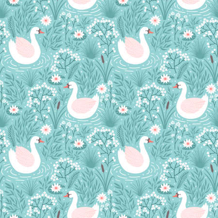 Vector seamless pattern with swan and floral elements. Repeated texture with bird.