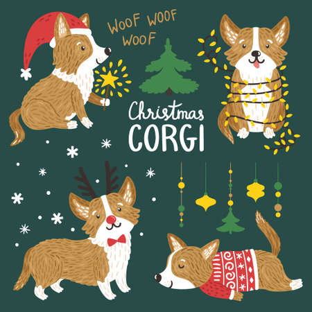 vector vector set of cute corgi dogs with christmas elements funny animals with santa hat deer horns garland of lights norwegian sweater - Christmas Corgi
