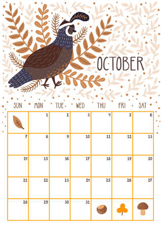 Vector monthly calendar with cute quail. October 2018. Planning design. Calendar page with smiling cartoon character. Imagens - 100737702
