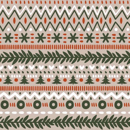 Vector seamless norwegian pattern with snowflakes and Christmas trees. Repeated winter texture. Scandinavian style. Illustration