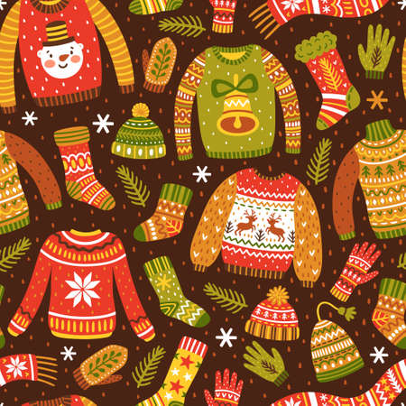 Winter seamless pattern with knitted jumpers, socks, hats, scarfs and mittens. Cute vector background with ugly sweaters. Repeating texture for New Year holidays. Christmas ornament.
