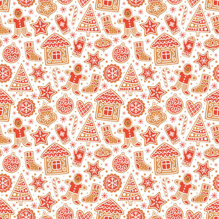 Winter seamless patterns with gingerbread cookies. Awesome holiday vector background. Christmas repeating texture for surface design, wallpapers, fabrics, wrapping paper etc. Illustration
