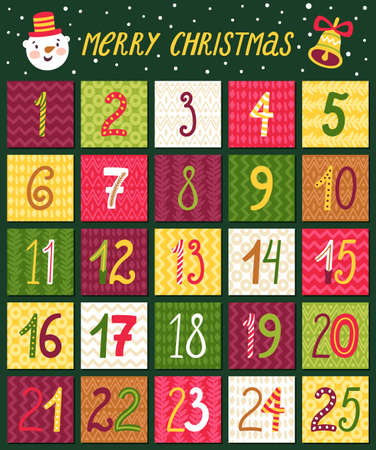 Vector advent calendar. Christmas countdown with hand written numbers.