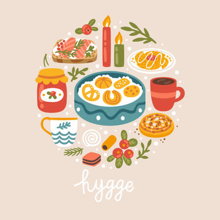Vector illustration with Danish food, drinks and hand written text Hygge. Scandinavian style. Trendy concept background.