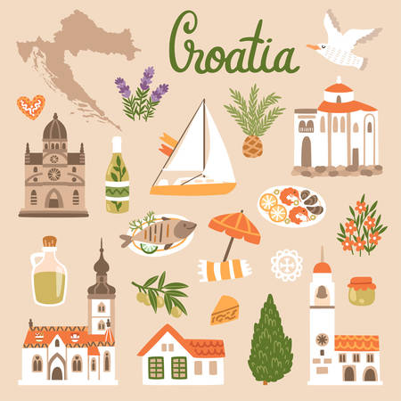 Vector icon set of Croatias symbols. Travel illustration with croatian landmarks, food and plants.