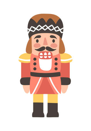 Vector illustration of nutcracker. Cute cartoon character is isolated on white.