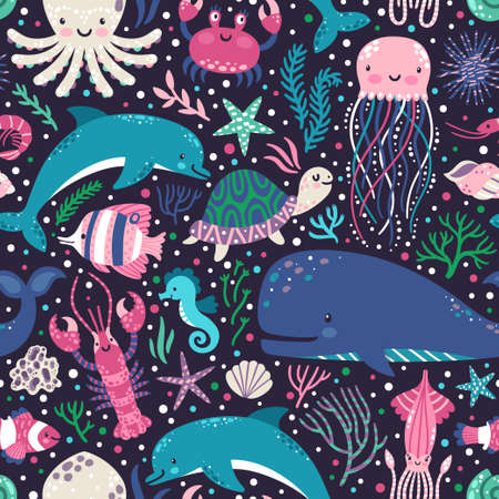 Vector seamless pattern with underwater animals, seaweed and corals. Repeated texture with sea cartoon characters. Colorful childish background.