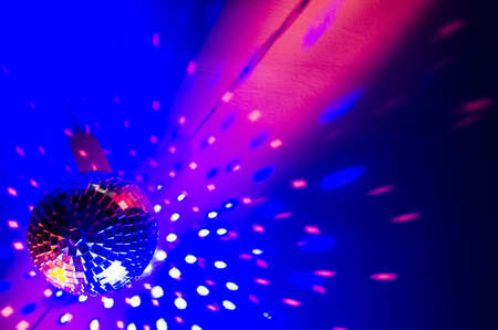 Disco ball in a blue light