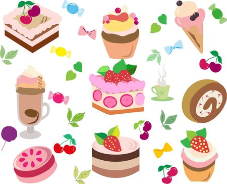 A gentle set of flat vector illustrations. Use for holidays and birthdays - cakes and ice creams.