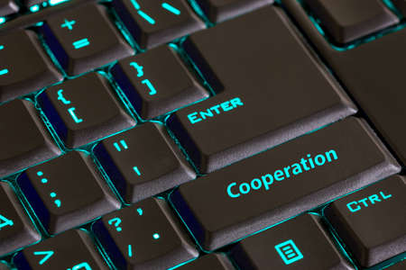 function key: message on computer keyboard shift key,  cooperation. Stock Photo