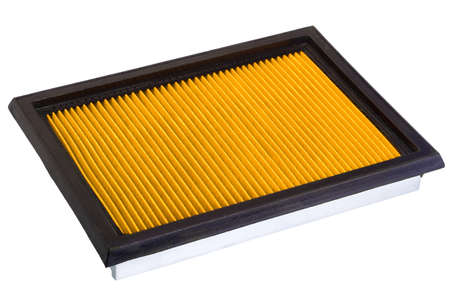 rubber sealant: Flat engine air filter in a metal case and rubber sealant, on a white background.