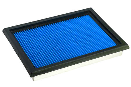 Flat engine air filter in a metal case and rubber sealant, on a white background.