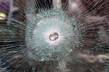 bulletproof glass after test. Stock Photo - 62707139