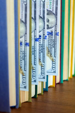 the denomination hundred dollars lie between pages of the book, saving hidden.