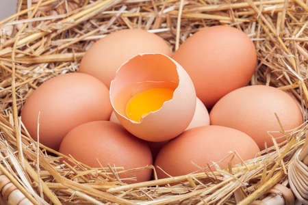 The eggs which are laid out in a basket with hay, a basket with crude eggs in a dry grass by Easter. Stock Photo