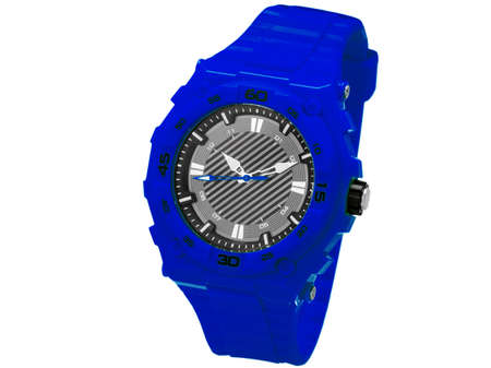 shooters: Blue sports wrist watche from rubber, watche for sports waterproof and shock-proof, on a white background of nobody. Stock Photo