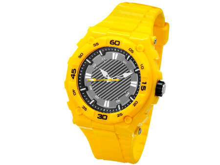 Yellow sports wrist watche from rubber, watche for sports waterproof and shock-proof, on a white background of nobody. Stock Photo