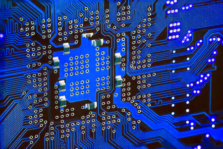 printed circuit: the printed circuit board with contact paths close up.