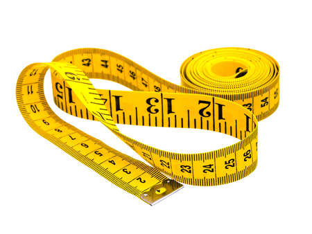 Centimeter of yellow color from fabric for measurement of length and volume on a white background.  Stock Photo