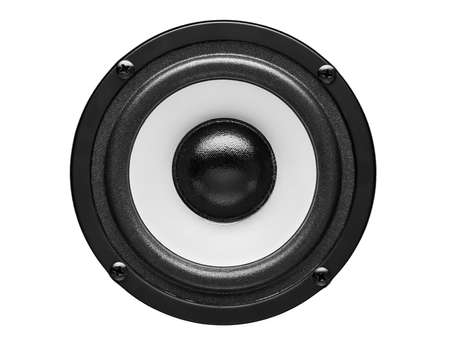 Acoustic the loudspeaker on a white background the front view, the white loudspeaker with a black subweight and a black dome. The isolated image, nobody. Stock Photo