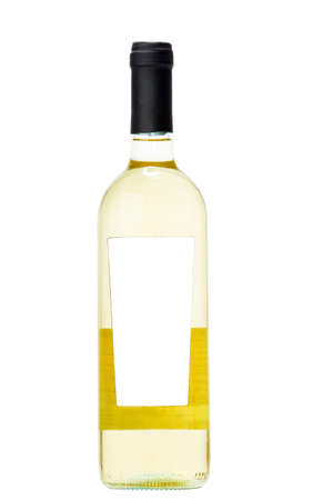 alcoholic drink: the Wine bottle isolated on a white background, glass bottle of alcoholic drink, nobody.
