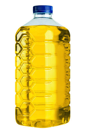 Plastic canister with nonfreezing liquid for washing of windows, isolated on a white background.