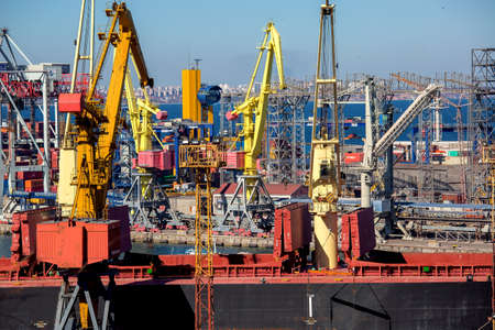 ODESSA, UKRAINE - March 31, 2017: Black Sea trade port, export of raw material.