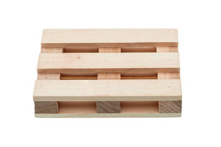 empty warehouse: Wood pallet isolated on white background, top view in front.