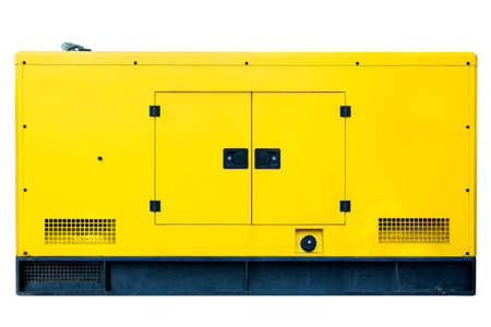 big backup diesel generator yellow color for commercial use, isolated on a white background.