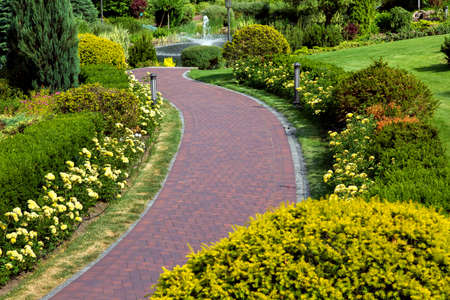 a curved path of paving slabs in a park area with landscape design and a flower bed with blooming roses and bushes.